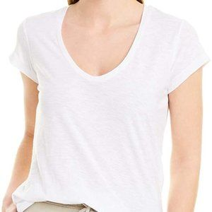 James Perse White Deep Scoop Neck T-Shirt, Size 2
